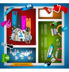 Infographic teamwork Banner Set and brainstorming vector image