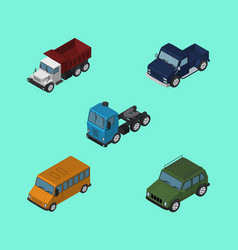 Isometric automobile set of freight autobus suv vector
