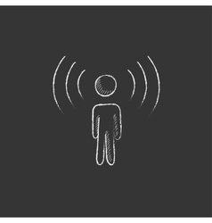 Man with soundwaves drawn in chalk icon vector