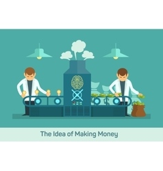 Money factory creative machine flat vector