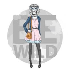Retro hipster fashion animal lion woman model vector
