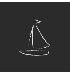 Sailboat icon drawn in chalk vector image