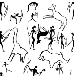 seamless pattern of rock paintings vector image