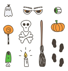 Set of cute colorful halloween doodles vector