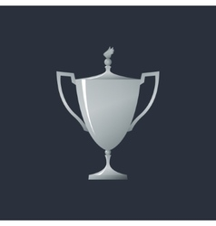 Silver cup of winner vector