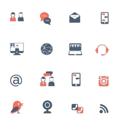 Social network black red icons set vector image