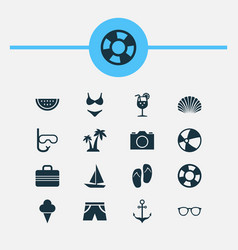 Sun icons set collection of sweets baggage vector