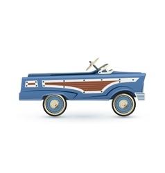 Vintage old blue toy pedal car vector