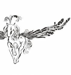 winged horse vector image vector image
