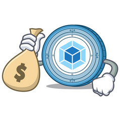 with money bag webpack coin character cartoon vector image vector image