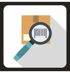 Cardboard box and magnifying glass icon flat style vector