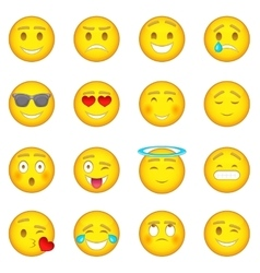 Smiles icons set cartoon style vector image