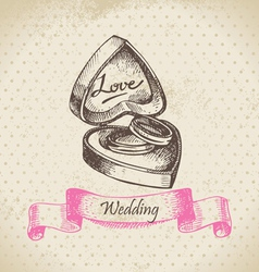 Box with wedding rings hand drawn vector