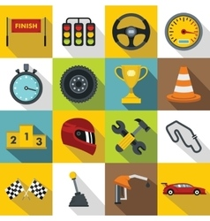 Racing speed icons set flat style vector