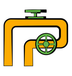 Pipeline with valve and handwheel icon vector