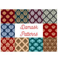 Damask floral baroque samless patterns set vector