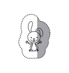sticker of grayscale contour of rabbit vector image