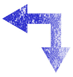 bifurcation arrow left down grunge textured icon vector image