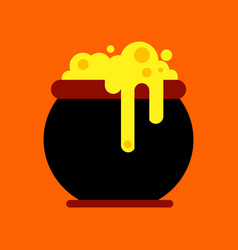 Flat icon on background halloween witches cauldron vector