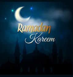Ramadan kareem greeting card - islamic mosque vector