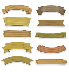 Cartoon wood banners and ribbons vector