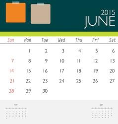 2015 calendar monthly calendar template for June vector image vector image