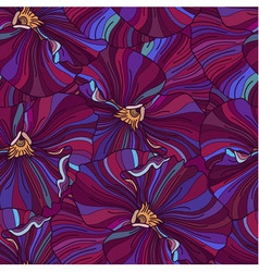 Bright pansy flowers seamless background vector