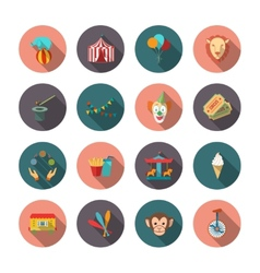 Set of circus flat icons vector
