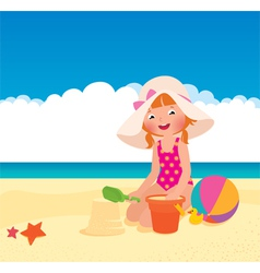 Girl playing on the beach vector