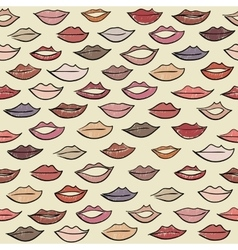 Seamless pattern with colored lips vector
