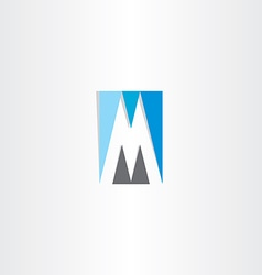 Blue grey letter m logo vector