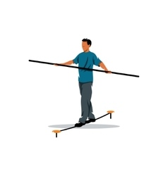 Rope walker man sign funambulist vector
