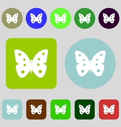 Butterfly sign icon insect symbol 12 colored vector