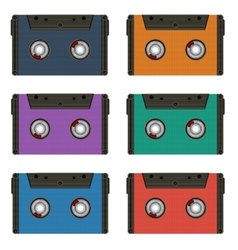 Six multi colored cassettes vector
