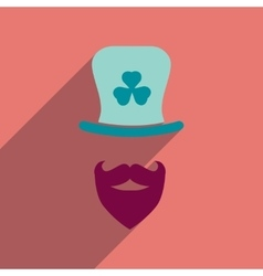 Flat web icon with long shadow irish hat beard vector