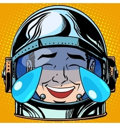 Emoticon laughter tears emoji face man astronaut vector
