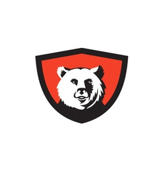 California grizzly bear head smiling crest retro vector