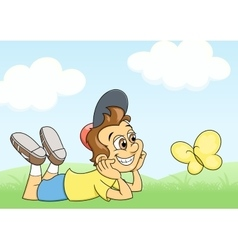 Boy and butterfly on meadow vector image