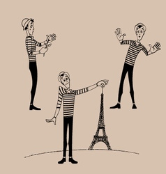 Mime coloring outline set 03 vector