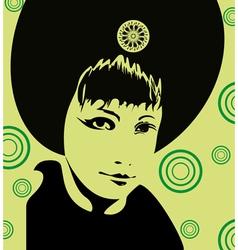 Girl face green vector