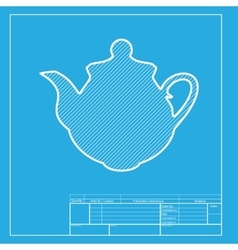 Tea maker kitchen sign white section of icon on vector