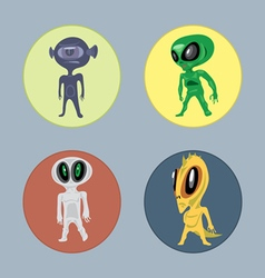 Alien creatures and monsters set flat style vector image