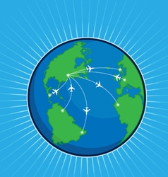 Airplane Route Around the World Globe vector image
