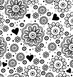 Beautiful floral seamless pattern with hearts vector