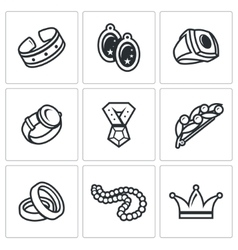 Bijouterie icons set vector image vector image