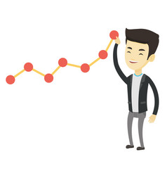 Business man looking at chart going up vector