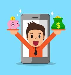 Businessman earning money with smartphone vector image vector image