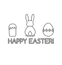 Card template with easter symbols line art vector
