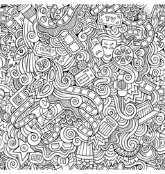 Cartoon doodles cinema seamless pattern vector image vector image