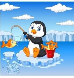 Cartoon penguin fishing on the ice vector